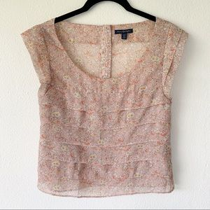 American Eagle Outfitters Pink Floral Top X